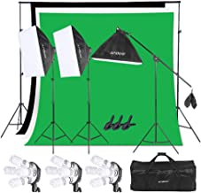 Andoer Photography Studio Softbox Lighting Kit with 6.5ftx10ft(2X3Meters) Background Support System Including 3pcs Backdro...