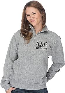 Alpha Chi Omega Quarter Zip Pullover Sweatshirt - Heather Grey and Black