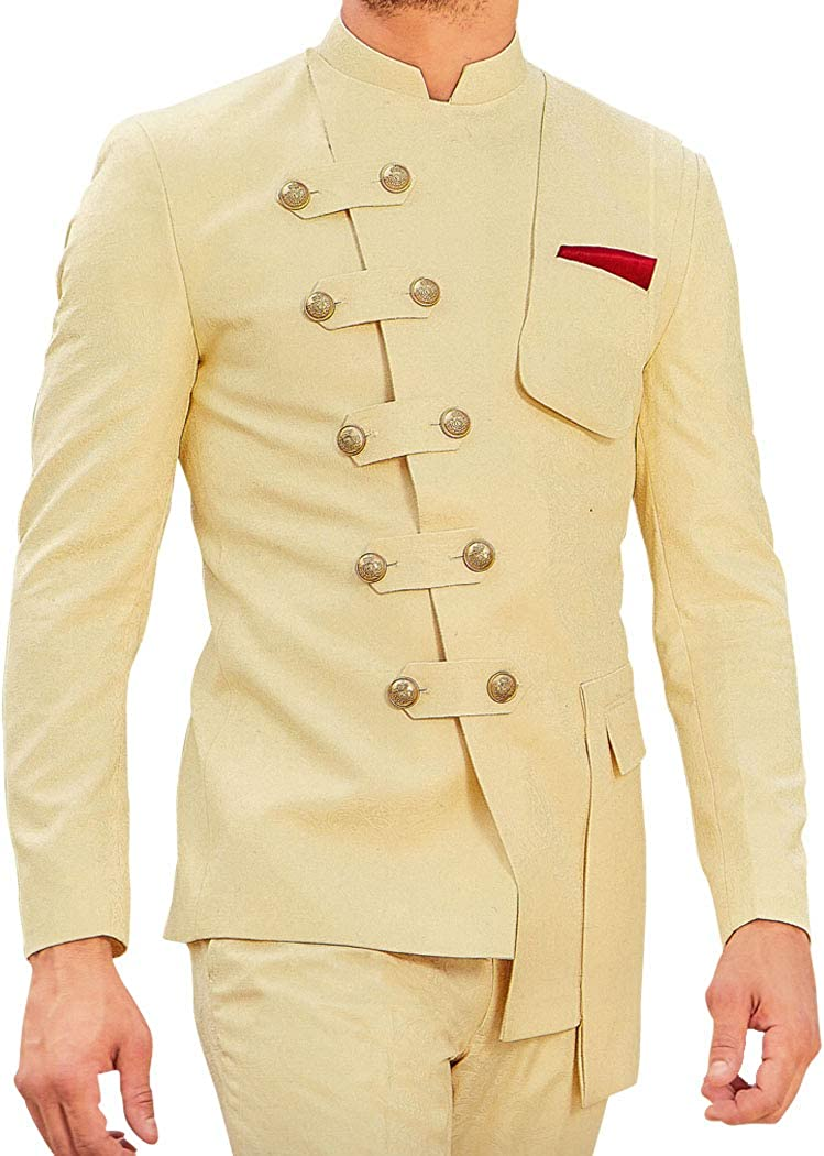 INMONARCH Mens Yellow Nehru Suit with Fashionable Jacket NS9730