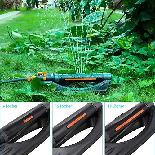 FIXKIT Rasensprenger 3 in 1 Viereckregner Automatisch Oszillationssprenger 3 Verstellbare Sprühmodi mit 6/12/19 Löchern zur Bewässerung kleinerer rechteckiger Flächen von 45-280 m²
