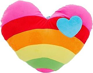 Toyvian Cojín de Corazón Almohada de Felpa Arcoiris Almohada Cojín Almohada Juguete Regalo Creativo para Uso en El Hogar Oficina Oficina Coche (Corazón)