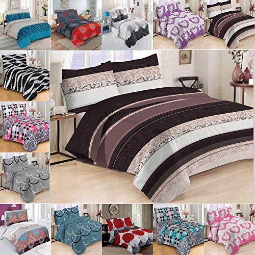 Buymax Bettwäsche Set 3 Teilig Bettgarnitur, Bezug Bettdecke und Kissen, Baumwolle-Renforce, Reißverschluss, 200x220 cm, Muster