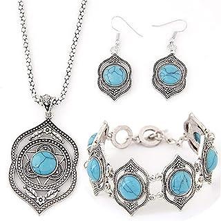 SOURBAN Women Boho Imitation Turquoise Necklace Earring Bracelet Set