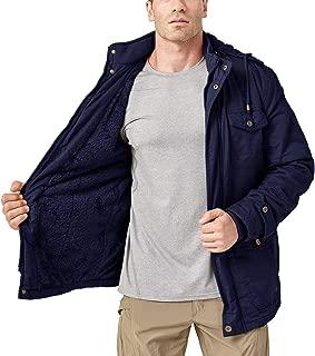 Men's Winter Outdoor Fleece Cargo Jackets Stand Collar Cotton Work Jacket Windbreaker 7 Pockets