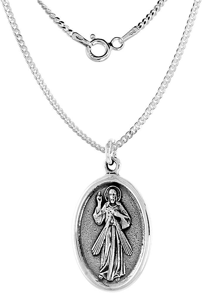 Sterling Silver Resurrection of Jesus ついに入荷 Oval Necklace 期間限定で特別価格 1.8mm Medal