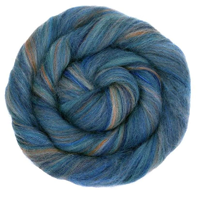 4 oz Paradise Fibers Multi-Colored Merino Wool Roving - Denim