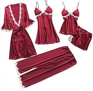 Swyss Women's Sleepwear Sexy Lace Trim Satin 5 Piece Robe + Nightgown + Camisole Shorts Pajama Set + Long Pants