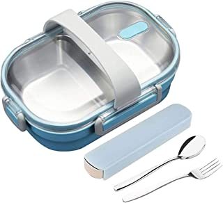 2 Compartments Bento Lunch box with Fork and Spoon,Stainless Steel Insulated Bento Lunch Box Leakproof Container With Portable Utensils for Adults, Men, Women (Blue)