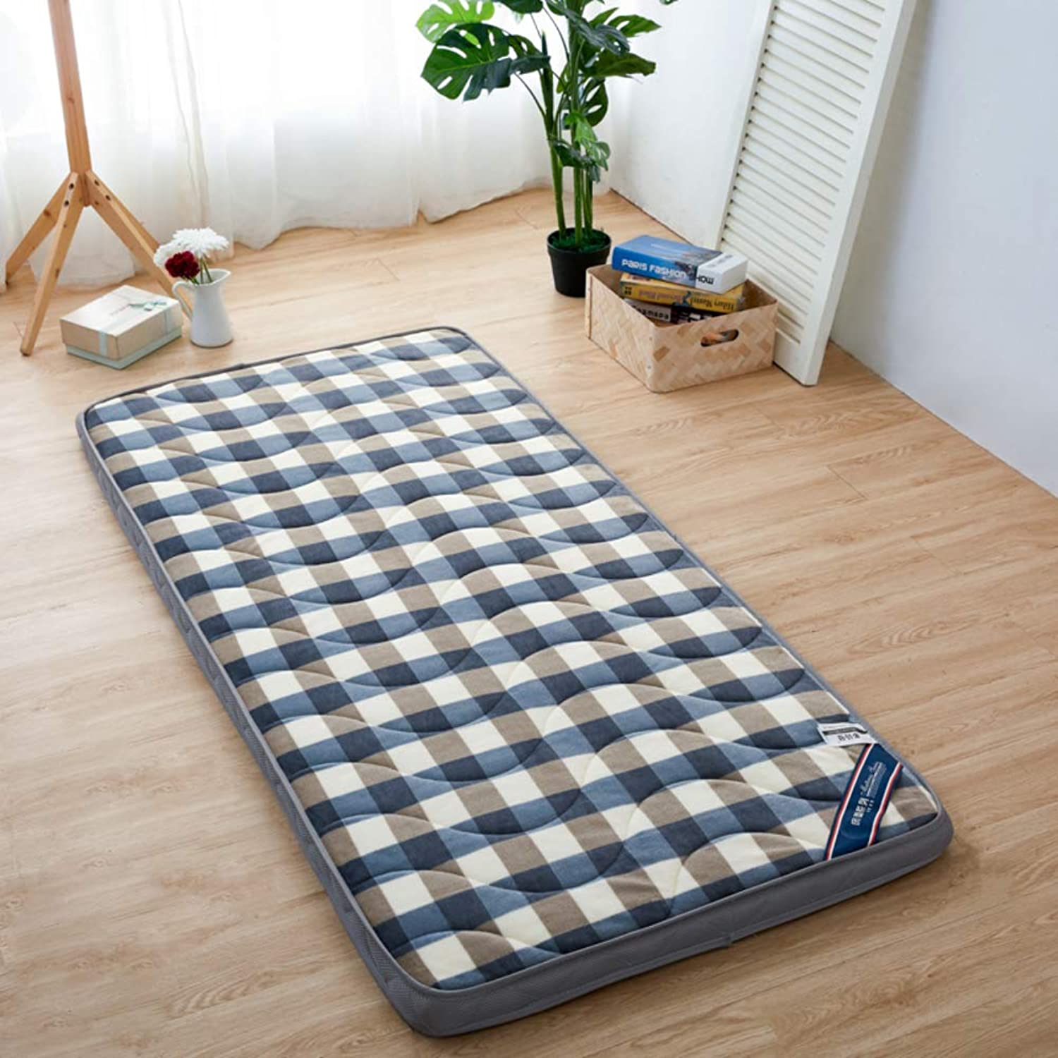 Foldable Warm Mattress,Student Pad,Dormitory Single Mat,Padded Ground Futon,Flannel Mattress Prevent Allergy-J 90x200cm(35x79inch)