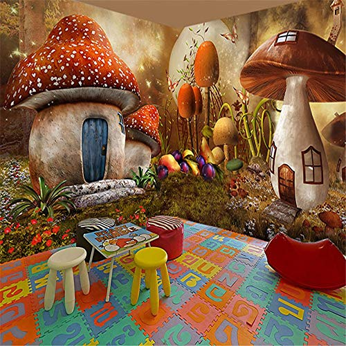 Wandbild, 3D Kindergarten Wandbild Tapete Ktv 3D Cartoon Waldpilz House Animal, 308X220Cm