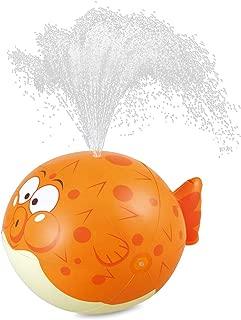 HIWENA Kids Sprinkler, Puffer Fish Sprayer, Summer Fun Inflatable Sprinkler, Water Spray Ball, Fish Water Toys for Kids