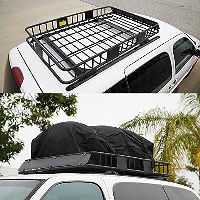"LT Sport 61"" Universal Rooftop Basket Cross Bar Mount Cargo Rack Storage Carrier"
