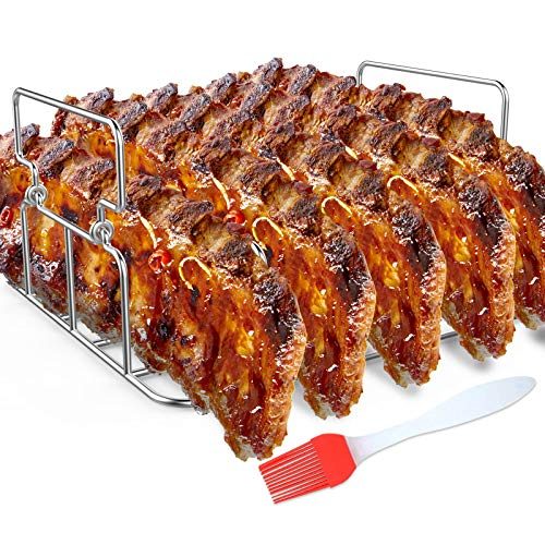Durable Stainless Steel Rib Rack with a Silicone Oil Brush, BBQ Stand with 2 Handle for Smoker,Oven and Grill, Cook up to 5 Ribs at a time