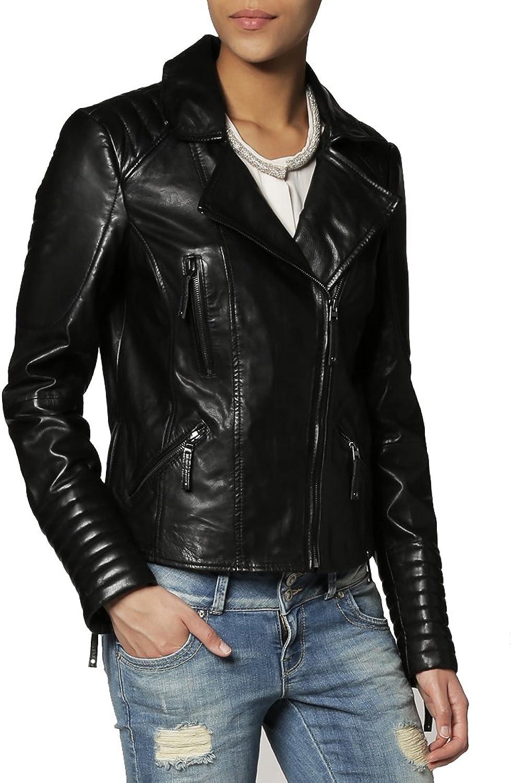 New Women Motorcycle Lambskin Leather Jacket Coat Size XS S M L XL XW104