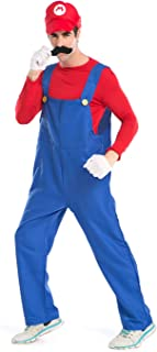 Super Mario Luigi Halloween Costume Classic Super Mario Brothers Fancy Dress Costume for Halloween Christmas Party Cosplay (Red, M)