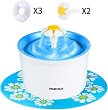 YOUTHINK Pet Fountain, 1.6L Cat Water Fountain with 3 Filters, 2 Flowers and 1 Silicone Mat, Pet Drinking Fountain for Dogs and Cats