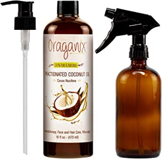 Oraganix Fractionated Coconut Oil with Amber Glass Spray Bottle - 100% Pure Natural 16 Oz Coconut Oil with 16oz Amber Glass Spray Bottle - for Essential Oil, Massage Oil, Skin and Hair Care
