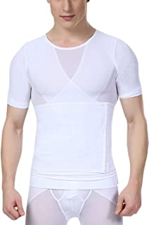 Camiseta Reductora con Faja Ajustable Moldeadora de Abdomen Translúcido para Hombre Deportes Fitness - Negro Blanco