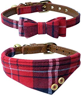 The Creativehome Dog Cat Collars Leather for Small Pet Adjustable Bow-tie and Scarf Puppy Collars with Bell Cute Plaid Bandana Dog Collar(2 Pack)