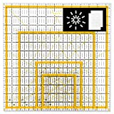 Magicfly Acrylic Quilting Ruler (4.5'x4.5', 6'x6', 9.5'x9.5', 12.5'x12.5') Set of 4 Transparent Quilter Square Ruler with 48 Non-Slip Rings & 20Pcs Transparent Sewing Clips, Double-Colored Grid Lines