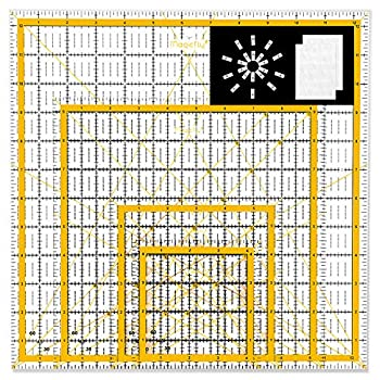 Magicfly Acrylic Quilting Ruler  4.5 x4.5  6 x6  9.5 x9.5  12.5 x12.5   Set of 4 Transparent Quilter Square Ruler with 48 Non-Slip Rings & 20Pcs Transparent Sewing Clips Double-Colored Grid Lines