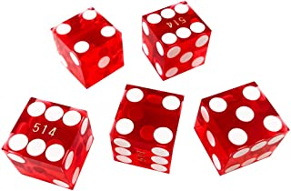 YH Poker Set of 5 Grade AAA Precision 16mm Serialized Casino Craps Dice with Razor Edges and Corners