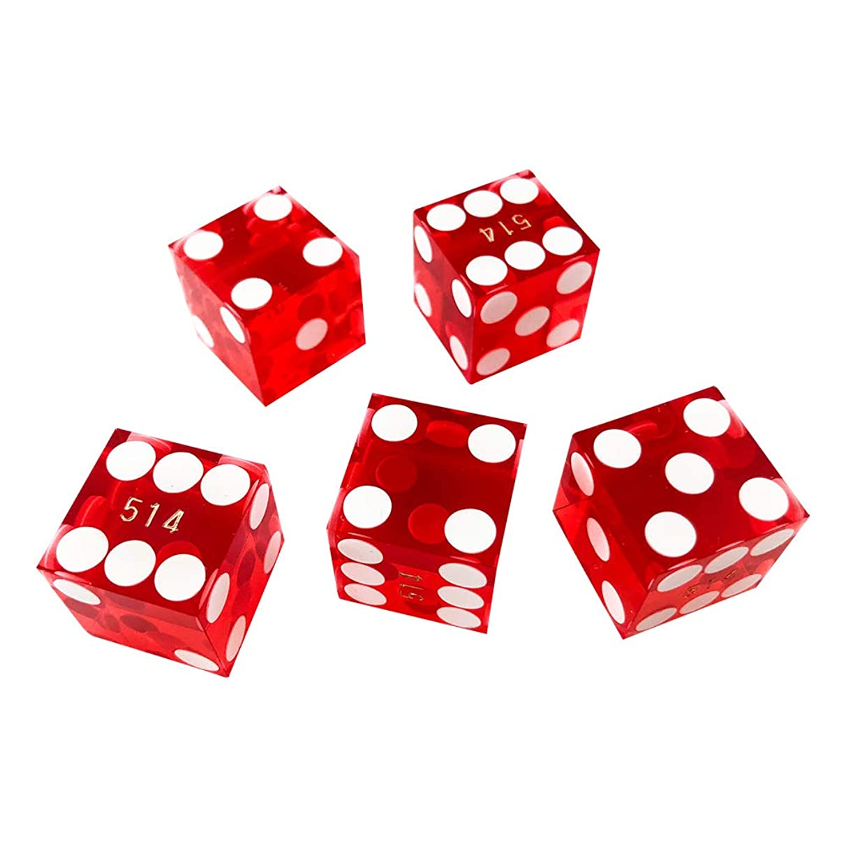 YH Poker 16mm Seriallized Casino dice with Razor Edges and Matchiong Serial Numbers Set of 5- Red