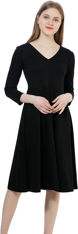 DANTIYA Women's 3/4 Sleeve Work Office Business V-Neck A-Line Knee Long Sheath Midi Dress