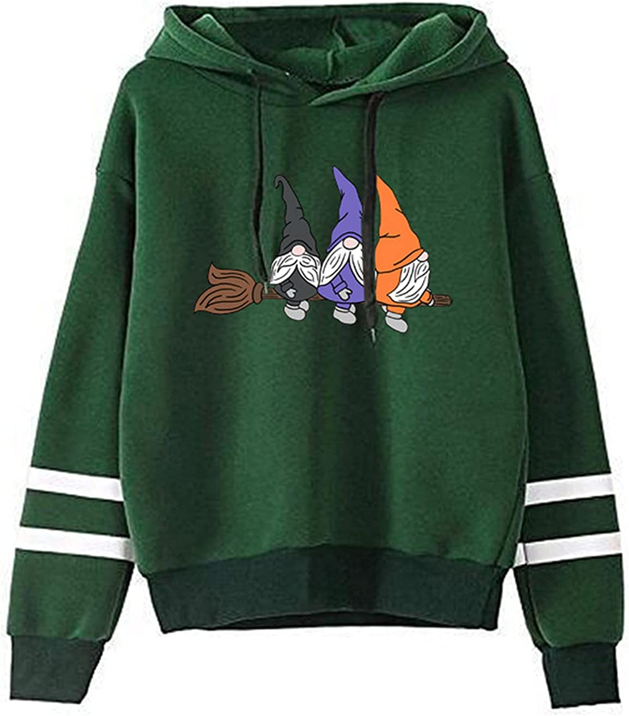 977 Women Cartoon Old Man Print Hoodies Pullover Long Sleeve Splicing Stripe Tops Outerwear Winter Cute Tunics