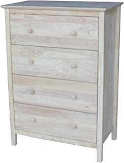 International Concepts Chest with 4 Drawers, Unfinished