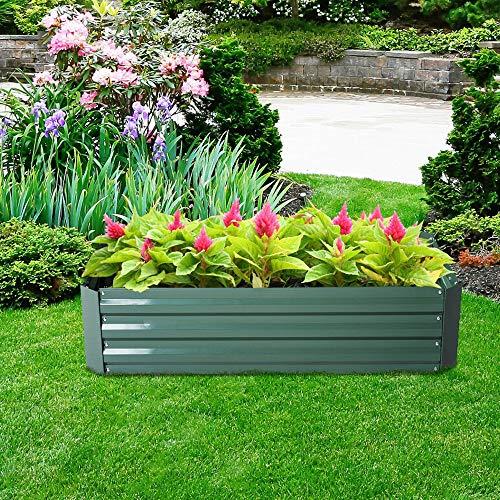 HENGMEI - Jardinera de Acero galvanizado, Rectangular, para balcón y jardín, Color...