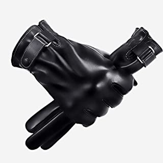 LJJOO Touch Screen Leather Gloves Men's Winter PU Thickening Plus Velvet Warm Windproof Waterproof Touch Screen Outdoor Riding Motorcycle Gloves (Color : E)