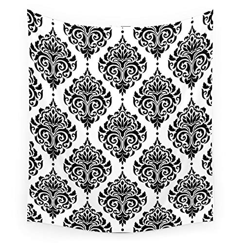 Society6 Wall Hanging Tapestry - Small: 51' x 60' - Black and White Damask by Seafoam12