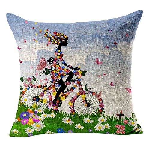 Sannysis fodere per cuscini federa vintage di cotone stampato floreale divano(Verde)