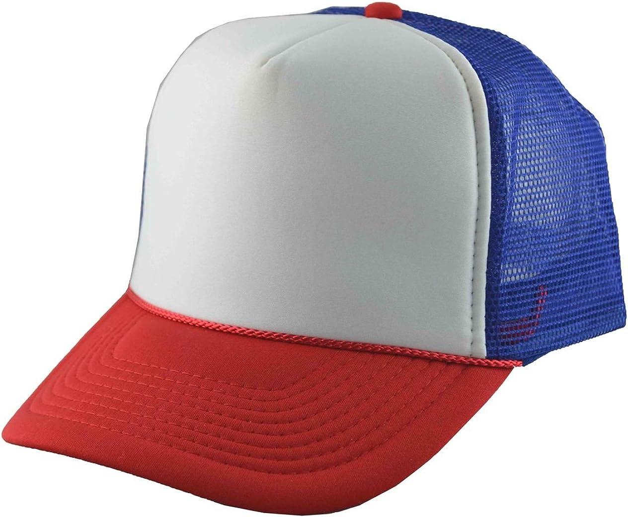NIS Men's Mesh Trucker Adjustable Cap 3 Tone Royal Blue Red White