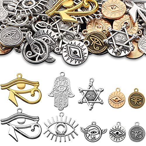 50 Pieces Eye of Horus Charms Pendant Tibetan Magic Metal Charms Mixed Craft Charm for DIY Necklace Bracelet Jewelry Making Crafting Supplies