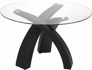 Mobilier Deco Table À Manger Ronde en Verre avec Piétement Noir Wendy