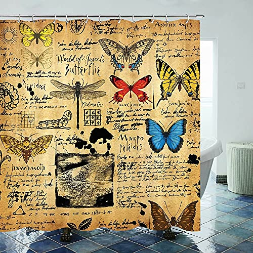 Fuortia Schmetterling Duschvorhang Vintage Specimen Manuelle Bienen Libelle Duschvorhang mit Haken Insektenfarm Badezimmer Vorhang-Sets Badezimmer Dekoration 178 × 178 cm