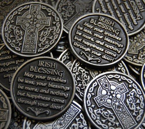 Set of 10 Celtic Cross Irish Blessing Pocket Token Coins