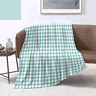 Luoiaax Sky Blue Comfortable Large Blanket Diamond Line Pattern Old Fashioned Argyle in Pastel Colors and Modern Look Microfiber Blanket Bed Sofa or Travel W70 x L70 Inch Turquoise White