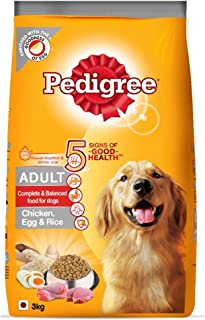 Pedigree Adult Dry Dog Food (High Protein Variant) Chicken, Egg & Rice, 3kg Pack