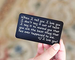 Engraved Wallet Insert Anniversary Gifts for Men; Boyfriend Gift Idea for Him; Handmade Fathers Day Gift; Anniversary Card from Wife for Husband, Friends, Boyfriend, Deployment