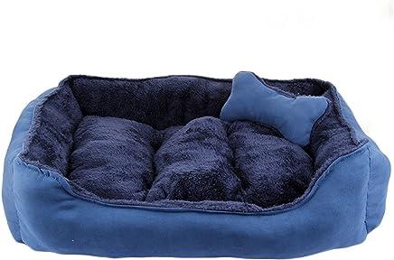 Cama para mascotas de lujo para gatos y pequeño perro mediano Cuddler con suave cojín desmontable (M-60x50x17cm, Azul)