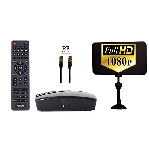 eXuby Digital Converter Box for TV - Digital Antenna - RF & RCA Cable - Complete Bundle to View and Record HD Channels (Instant or Scheduled Recording, 1080P HDTV, HDMI Output & 7 Day Program Guide)