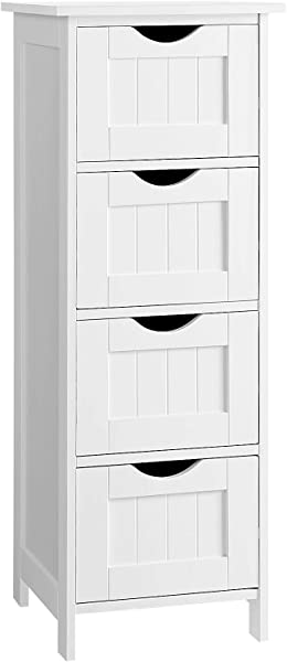 VASAGLE Bathroom Storage Cabinet Freestanding Office Cabinet With Drawers White