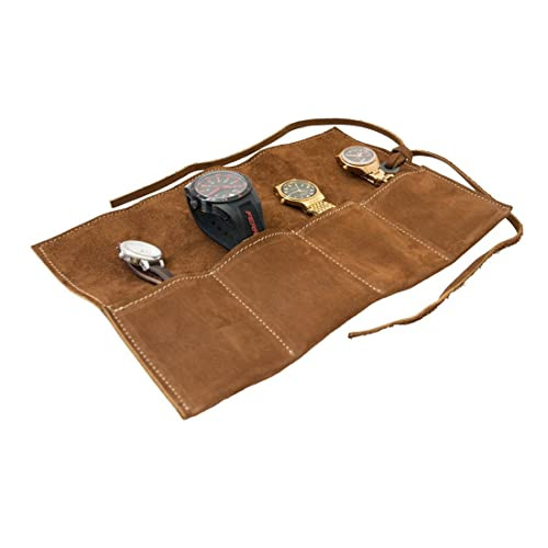 Hide & Drink Soft Leather Travel Watch Roll Organizer Holds Up to 4 Watches Handmade Swayze