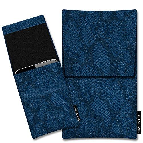 SIMON PIKE Hülle Tasche kompatibel mit Microsoft Surface Duo (X) | Schutztasche Sidney in 01 blau Schlange aus Kunstleder Handyhülle
