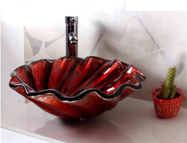 BIANJESUS Modernes Dickes gehrtetes Glas Waschbecken über Gegenbecken (450  150mm), Becken + Wasserhahn und Zubehr