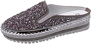 Women Summer Slipper Sandals, Ladies Casual Single Shoe Thick-Soled Flats Slip-on Loafers Slippers