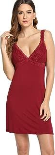 Womens Sleepwear Lace Nightgown V Neck Full Length Slip Dress